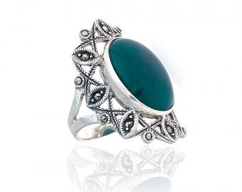 Art Deco Malachite Ring