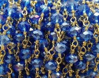 4 or 5mm Sapphire Blue Hydro Quartz , Brass w/ Gold Plating Rosary