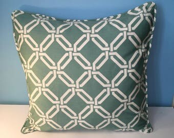 Decorative Greenish Teal and White Geometric Corded Pillow Cover