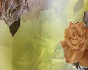 Chiffon Big Flower Print Taupe and Charcoal