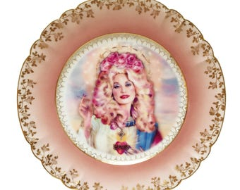 Vintage - Illustrated - Plate - Wall Display - Dolly Parton - Altered - Plate - Antique - Upcycled - Plate