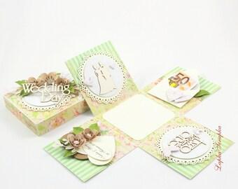 Money gift box for wedding, exploding box, money wedding cards, handmade wedding cards, exploding wedding box, green, Wedding card