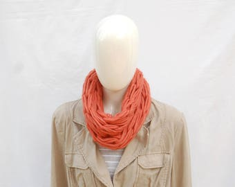 Merino cowl, chunky wool cowl, apricot ladies cowl. handknit cowl, chunky scarf, gift for her, christmas gift