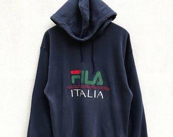 20% OFF Vintage Fila Italia Big Logo Hoodie / Fila Italia / Fila Hoodie / Fila Biella Italia / Fila Tennis / Sportwear