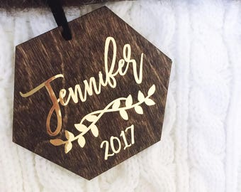 First Name Personalized Christmas Ornament,Christmas Ornaments,Ornament,Personalized Gift,Engraved Dark Stained Wood Ornament, Gold Ornament