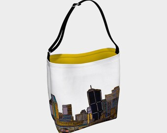 with strap in beige cotton Sac-fourre-tout-a-tout-faire Montreal in white and yellow - White and Yellow Day Montreal Tote Bag