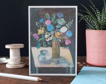 Blank greeting card for a woman,to say hello,thank you card,any occasion,for a grandmother,art card,still life,flowers for a woman, card set