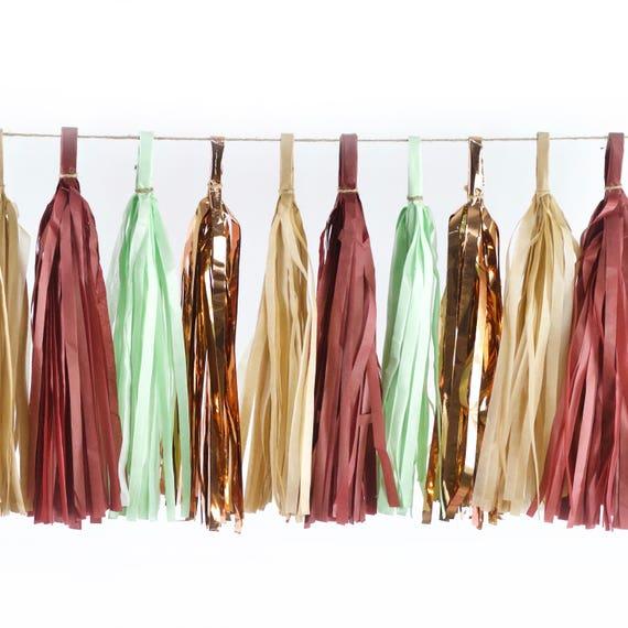 Rustic Christmas Tassels, Tissue Tassels, Tassel Banner, Christmas Party Decor, DIY Tassels, Baby Shower Wedding Seasonal Holiday Garland