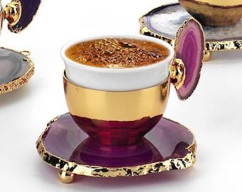 MisterCopper New Premium Turkish Coffee Espresso Set Decoreted with Natural Stone for 1