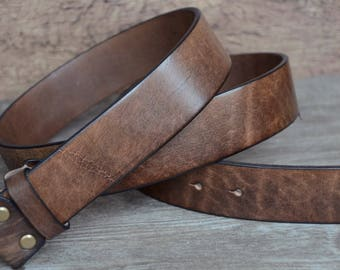 """Leather Belt Strap, Mens Belt Strap,Brown,Distressed Leather Strap, Full Gain Cowhide Leather Strap , 1.5"""" width"""