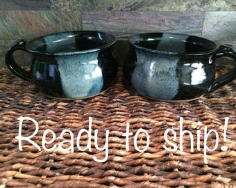 Set of 2 Soup Bowls or Soup Mugs Glazed in Night on the Lake