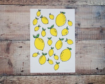 Lemons A4 Print - Screen Print - Lemon & Limes - Food Illustration - Printed Pattern - Wall Art - Decorative Print - Gift for Foodies