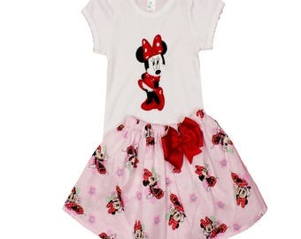 Minnie Mouse girl birthday dress girl Minnie name dress girl dress girl pink Minnie applique dress toddler Minnie birthday dress