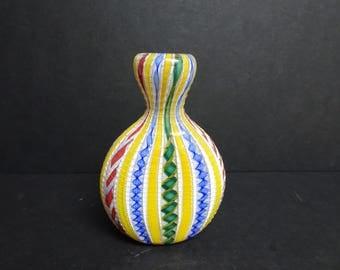 Italian 20th Century Filigrana Glass Flask. Murano.