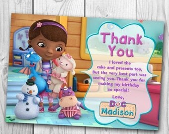 Doc McStuffins Thank You Card - Doc McStuffins Thank You Note - Doc McStuffins Thank You - Doc McStuffins Printables
