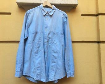 Fiorucci denim shirt / Fiorucci man shirt denim / Vintage Fiorucci shirt jeans / Denim shirt mens / Denim shirt large Elio Fiorucci