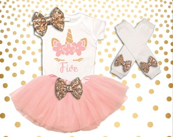 Unicorn 5th Birthday Outfit Girl Unicorn Birthday Shirt Unicorn Birthday Outfit Unicorn 5th Birthday Tutu 5th Birthday Girl Outfit