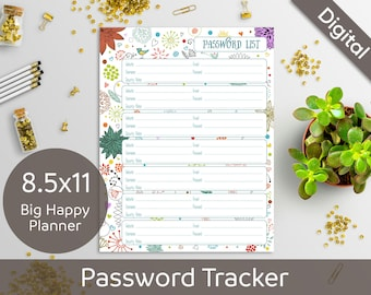 8.5 x 11 Password Book, Password List, Log, Keeper, Tracker, Journal, Printable Refill, Insert, Syasia Cute Floral PDF Instant Download