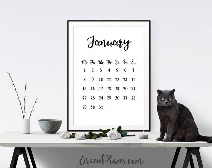 A4 & 8.5x11 Printable 2018 Calendar, Wall Calendar, Modern Calendar, Minimalist Calendar, Monthly Pages, DIY Calendar, PDF Instant Download