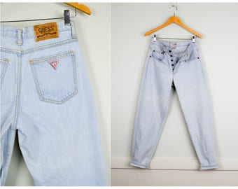 Vintage Guess Jeans 30, Vintage Clothing, Mom Jeans, 90s Clothing, 80s Clothing, High Waisted Jeans, Light Wash Jeans, 80s 90s Jeans Hip Hop