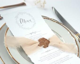 Deckle Edge Menu, Thorn Edge Menu, Dinner Menu, Wedding Reception, Organic Menu, Blush Menu, Bronze Wax Seal Menu, Champagne Ribbon Menu