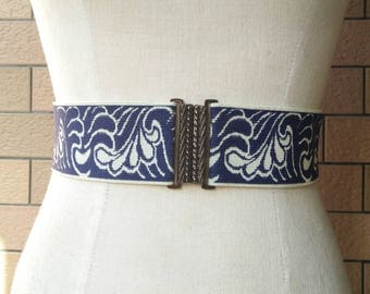 2 inch Navy/off white belt,Elastic belt,Stretch Belt,Cinch BeltWaist belt, Elastic waist belt,Waist belt -(JF)370/000