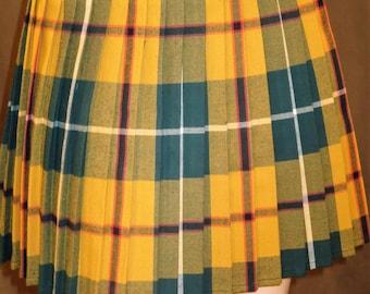 Yellow Green Plaid Pleated Halloween Skirt~Plaid Pleated Skirt~Custom Make Wrap around Style Skirt Cosplay Plaid Plus Sz Skirts@sohoskirts