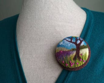 Women gift Tree jewelry Birthday gift idea for sister Needle felted brooch Bright gift Unique gift Boho girlfriend gift Mountain landscape