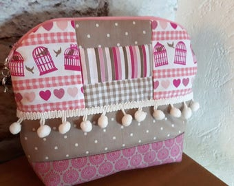 Makeup patchwork patterns birdcages and hearts