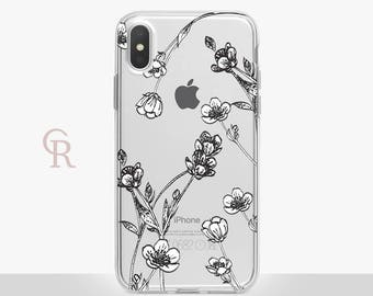 Floral iPhone X Clear Case For iPhone 8 iPhone 8 Plus - iPhone X - iPhone 7 Plus - iPhone 6 - iPhone 6S - iPhone SE - Samsung S8 - iPhone 5