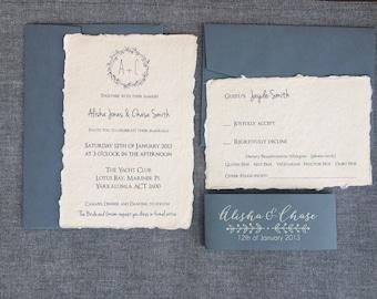 100 handmade paper wedding invitations | rustic deckled edge | vintage wedding invitations | country wedding invites | outdoor wedding
