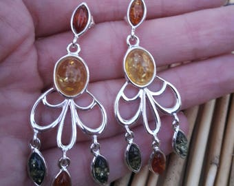 Sterling silver amber earing