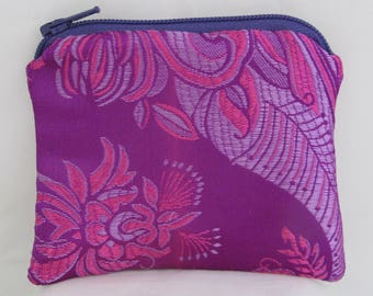 Small Purple and Pink Print Brocade and Satin Coinpurse Coin Purse Pendulum Crystals Zipper Bag Pouch Fancy
