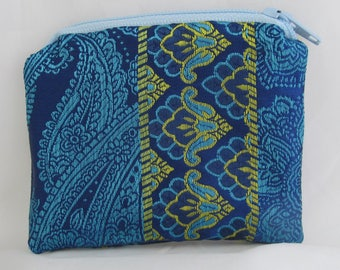 Small Blue and Green Print Brocade and Satin Coinpurse Coin Purse Pendulum Crystals Zipper Bag Pouch Fancy