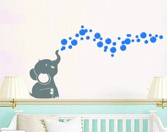 Elephant Blowing Bubbles Vinyl Wall Decal