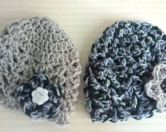 Baby - 2 gray hats for twin baby set