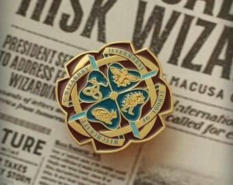 "Harry Potter/Fantastic Beasts themed ""Ilvermorny"" School Crest Enamel Lapel Pin"