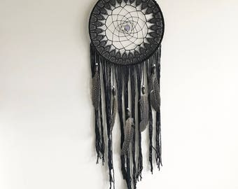 Black laced Guinea Feather Dream Catcher
