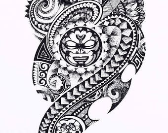Tribal Aztec Large Temporary Tattoo  Body Art Sticker for Men and Women Black  Large  Fake Tattoo