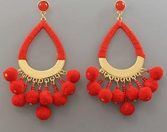 Red Pom Pom Drop Earrings