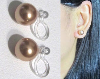 8mm Rose Gold Swarovski Pearl Clip On Earrings Wedding Clip-On Earrings,Invisible Clip-ons,6mm Sold Separately,Bridal Stud Clip On Earrings