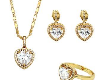 Love heart crystal gold three piece set