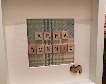 Picture Frame, Affa Bonnie Picture Frame. Scrabble Tweed Art, Doric phrase, Tweed, Tartan, Picture, New Baby