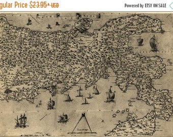 40% OFF SALE Poster, Many Sizes Available; Map Of Naples, Italy, 1557