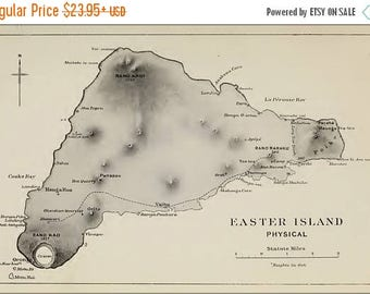 40% OFF SALE Poster, Many Sizes Available; Easter Island Physical Map 1920