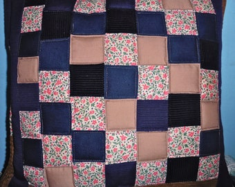 Patchwork quilted cushion cover