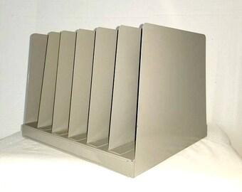 Vintage Metal Desk Organizer,Herald Square,File Sorter,Letter Holder,Folder Organizer,Desk Organizer,Office Storage,Industrial,Mad Men,1970s