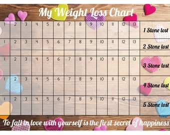Weight Loss Chart / Tracker - 5 stone - Comes with Star Stickers - Weight Loss Motivation - A4 laminated 300gsm Card