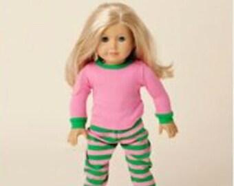Personalized doll pajamas + holiday Pajamas doll pajamas + Christmas pjs for dolly + 18 inch doll pajamas personalized + Doll dress up pjs