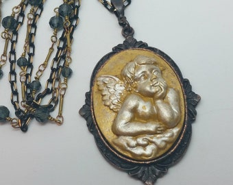 Angel Necklace, Cherub Necklace, Hand Painted, Angel Cameo, Layered Chain, Multi Chain, Romantic Necklace, Putti, B'sue by 1928, Angels